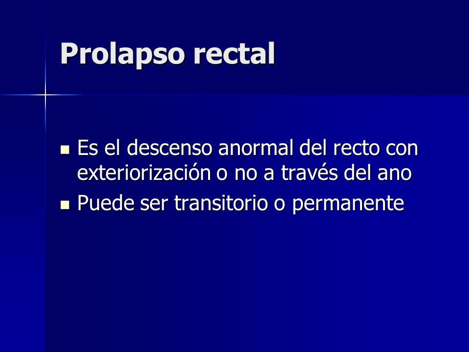 Prolapso rectal Es el descenso anormal del recto con exteriorización o no a través del ano Es el descenso anormal del recto con exteriorización o no a