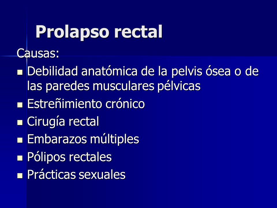 Prolapso rectal Causas: Debilidad anatómica de la pelvis ósea o de las paredes musculares pélvicas Debilidad anatómica de la pelvis ósea o de las pare