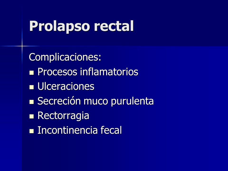 Prolapso rectal Complicaciones: Procesos inflamatorios Procesos inflamatorios Ulceraciones Ulceraciones Secreción muco purulenta Secreción muco purule