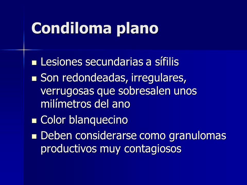 Condiloma plano Lesiones secundarias a sífilis Lesiones secundarias a sífilis Son redondeadas, irregulares, verrugosas que sobresalen unos milímetros