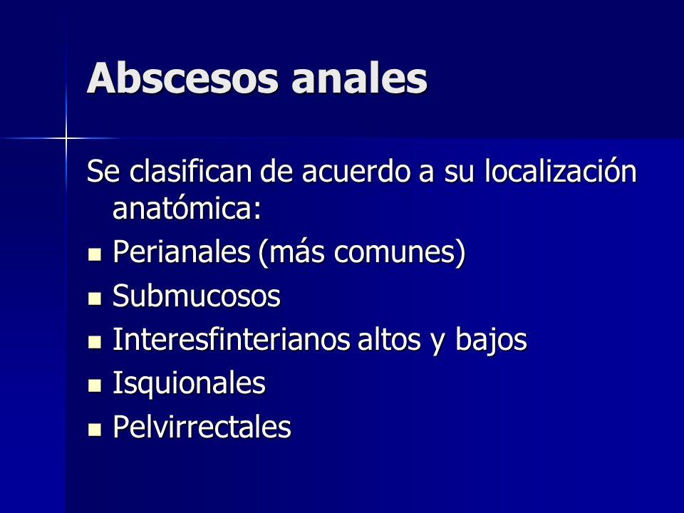 Abscesos anales Se clasifican de acuerdo a su localización anatómica: Perianales (más comunes) Perianales (más comunes) Submucosos Submucosos Interesf