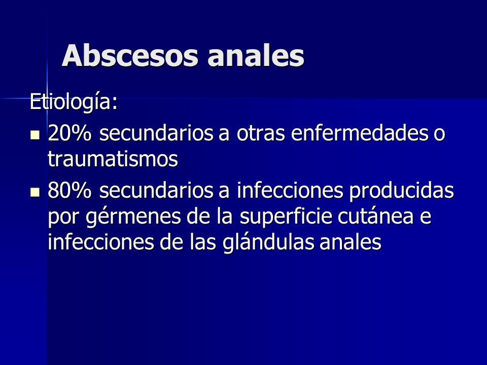 Abscesos anales Etiología: 20% secundarios a otras enfermedades o traumatismos 20% secundarios a otras enfermedades o traumatismos 80% secundarios a i