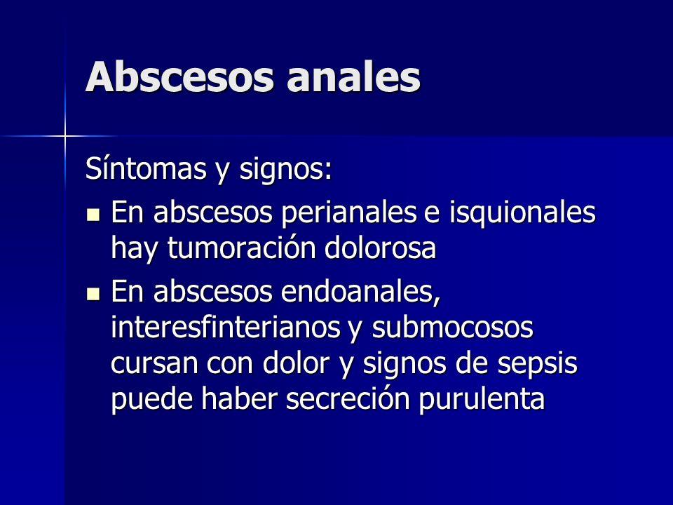 Abscesos anales Síntomas y signos: En abscesos perianales e isquionales hay tumoración dolorosa En abscesos perianales e isquionales hay tumoración do