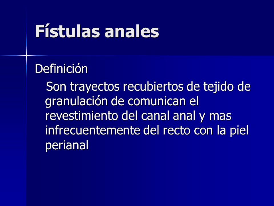 Fístulas anales Definición Son trayectos recubiertos de tejido de granulación de comunican el revestimiento del canal anal y mas infrecuentemente del
