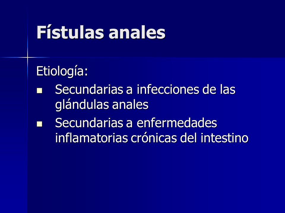 Fístulas anales Etiología: Secundarias a infecciones de las glándulas anales Secundarias a infecciones de las glándulas anales Secundarias a enfermeda