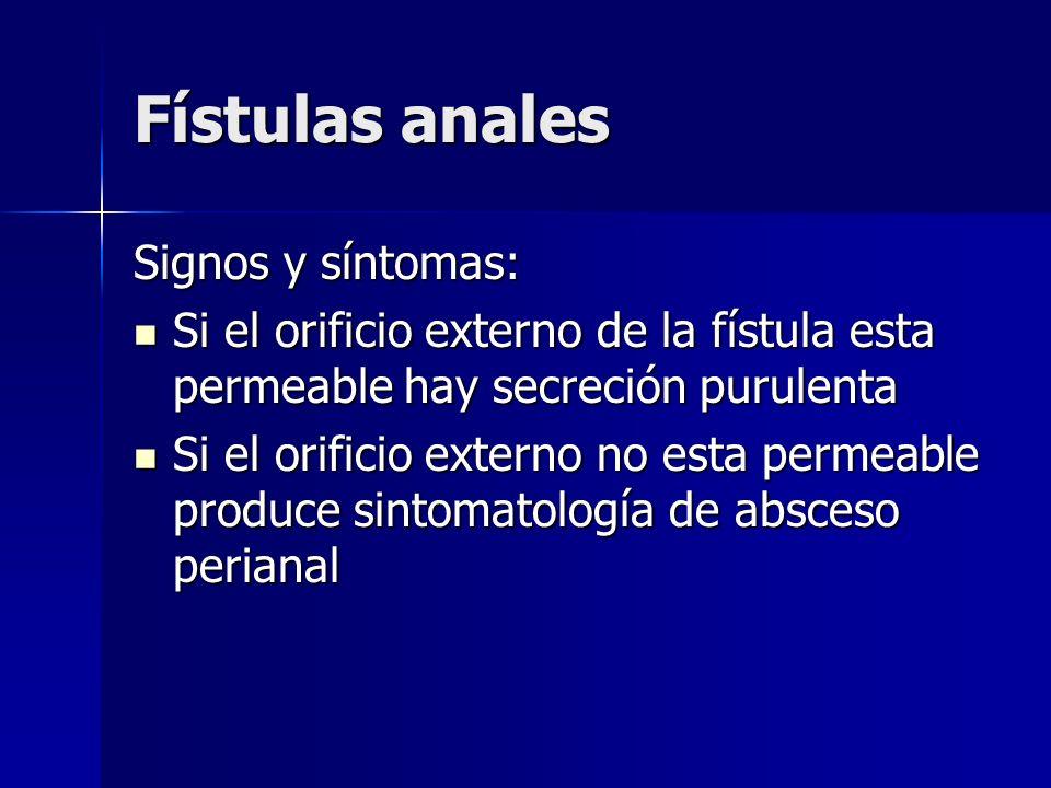 Fístulas anales Signos y síntomas: Si el orificio externo de la fístula esta permeable hay secreción purulenta Si el orificio externo de la fístula es