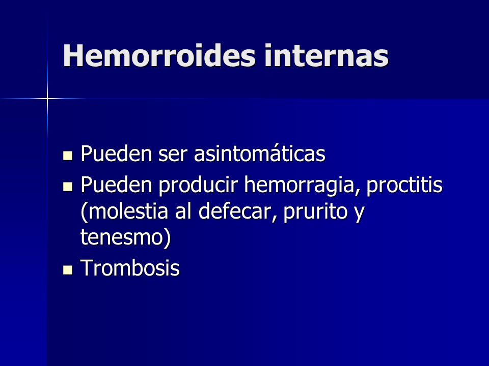 Hemorroides internas Pueden ser asintomáticas Pueden ser asintomáticas Pueden producir hemorragia, proctitis (molestia al defecar, prurito y tenesmo)