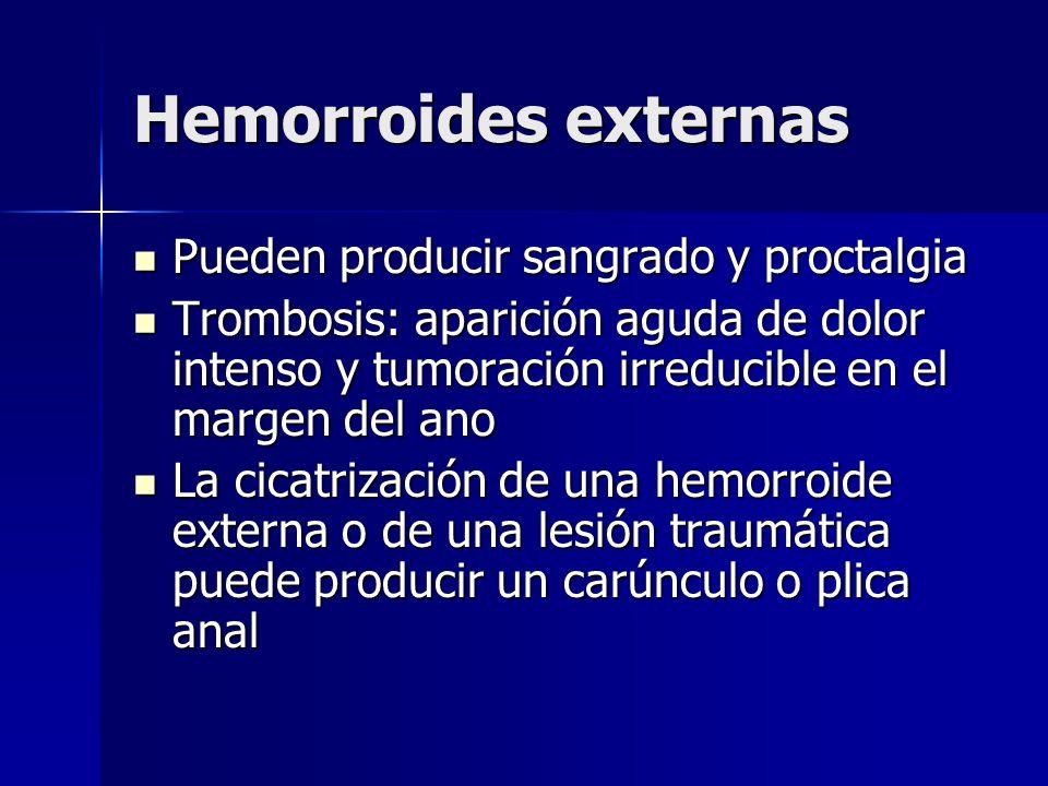 Hemorroides externas Pueden producir sangrado y proctalgia Pueden producir sangrado y proctalgia Trombosis: aparición aguda de dolor intenso y tumorac