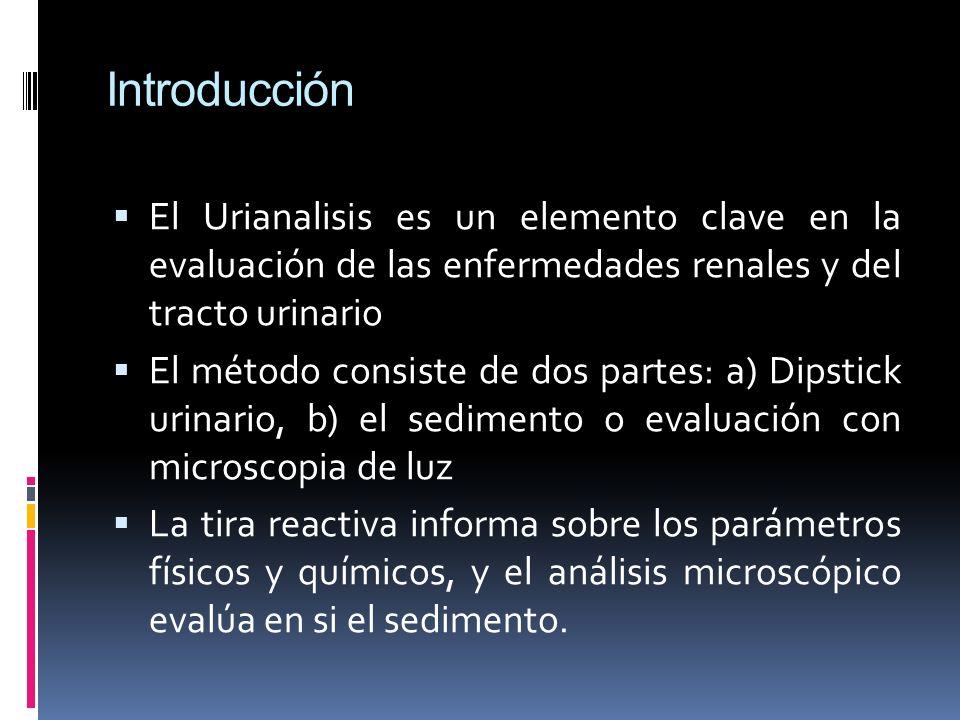 Introducción El Urianalisis es un elemento clave en la evaluación de las enfermedades renales y del tracto urinario El método consiste de dos partes: