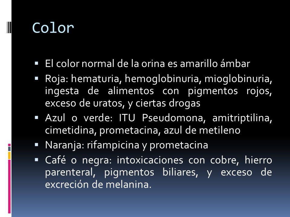 Color El color normal de la orina es amarillo ámbar Roja: hematuria, hemoglobinuria, mioglobinuria, ingesta de alimentos con pigmentos rojos, exceso d
