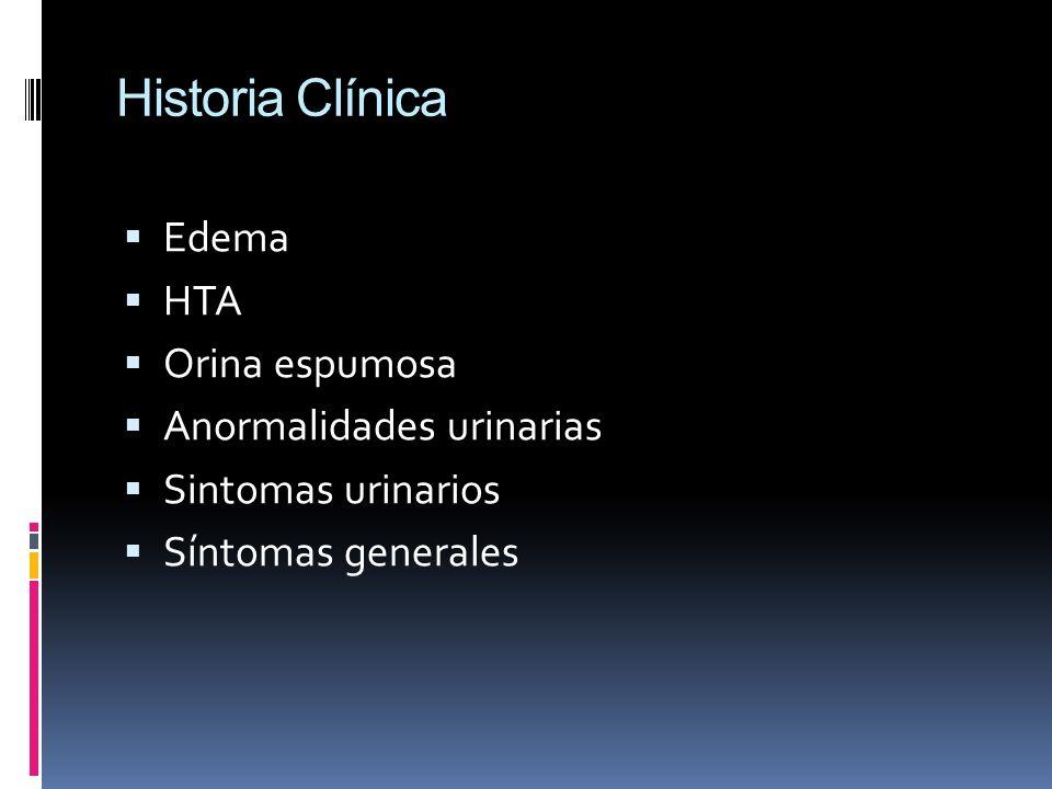 Historia Clínica Edema HTA Orina espumosa Anormalidades urinarias Sintomas urinarios Síntomas generales