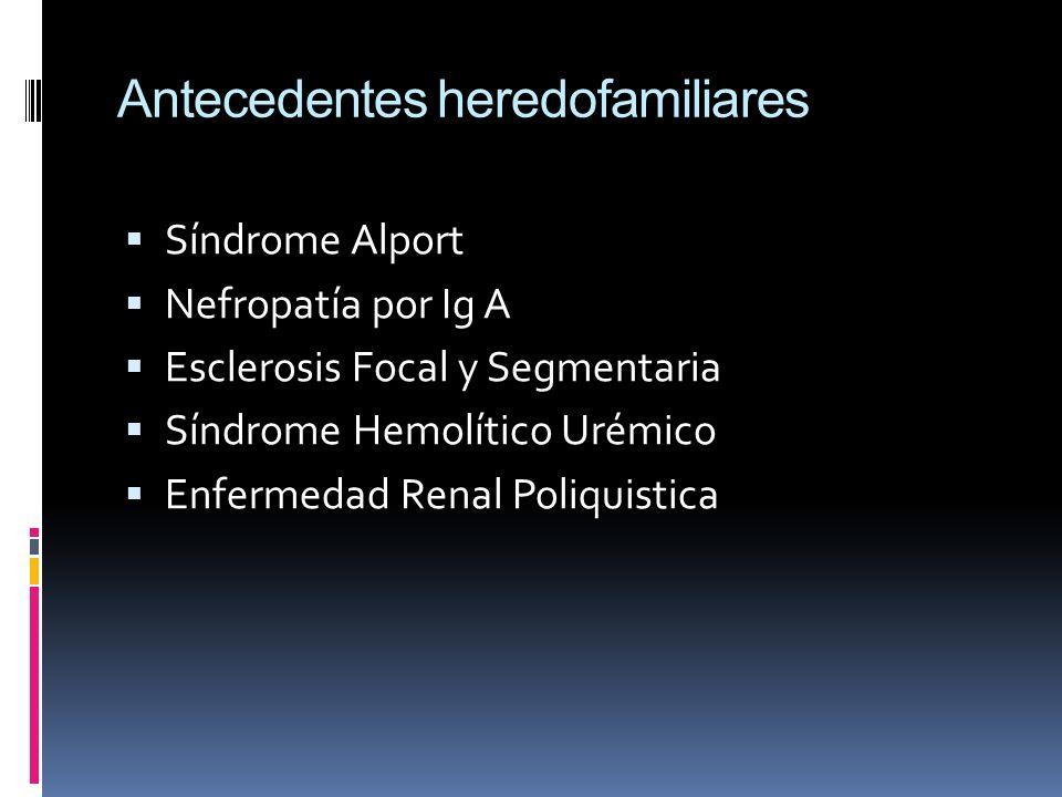 Antecedentes heredofamiliares Síndrome Alport Nefropatía por Ig A Esclerosis Focal y Segmentaria Síndrome Hemolítico Urémico Enfermedad Renal Poliquis