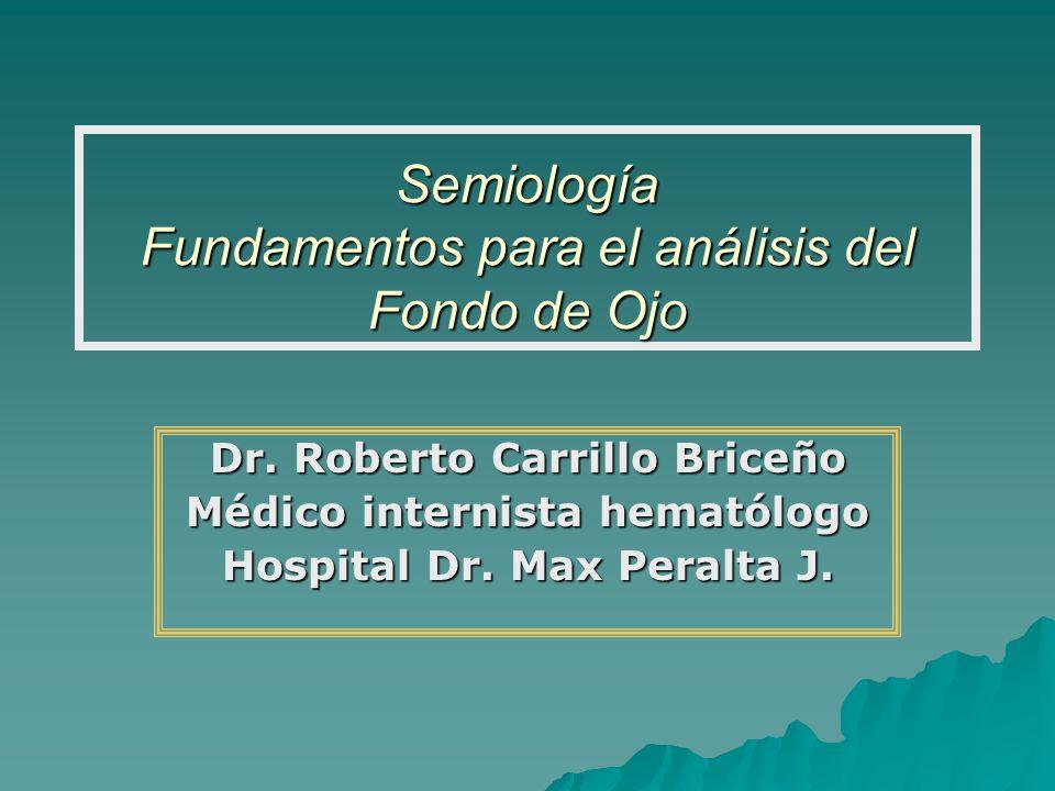 Semiología Fundamentos para el análisis del Fondo de Ojo Dr. Roberto Carrillo Briceño Médico internista hematólogo Hospital Dr. Max Peralta J.
