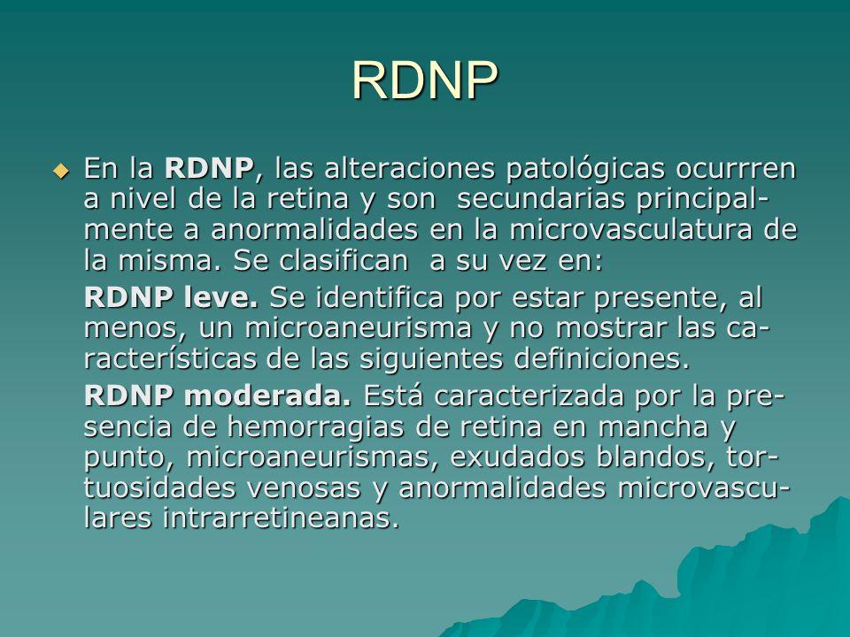 RDNP En la RDNP, las alteraciones patológicas ocurrren a nivel de la retina y son secundarias principal- mente a anormalidades en la microvasculatura