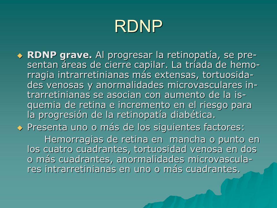 RDNP RDNP grave. Al progresar la retinopatía, se pre- sentan áreas de cierre capilar. La tríada de hemo- rragia intrarretinianas más extensas, tortuos