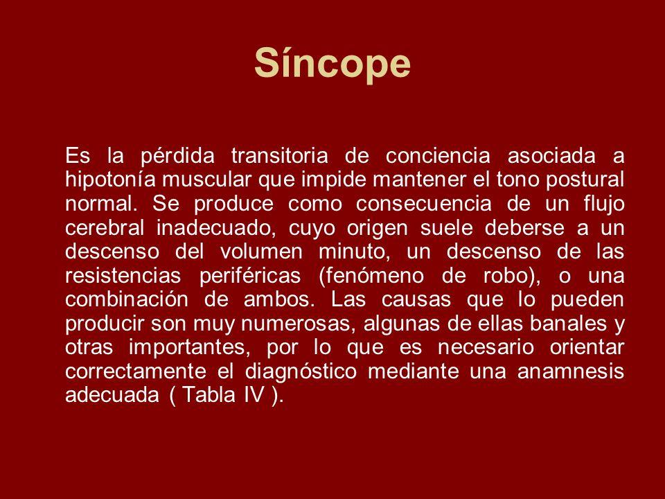 Síncope Es la pérdida transitoria de conciencia asociada a hipotonía muscular que impide mantener el tono postural normal. Se produce como consecuenci
