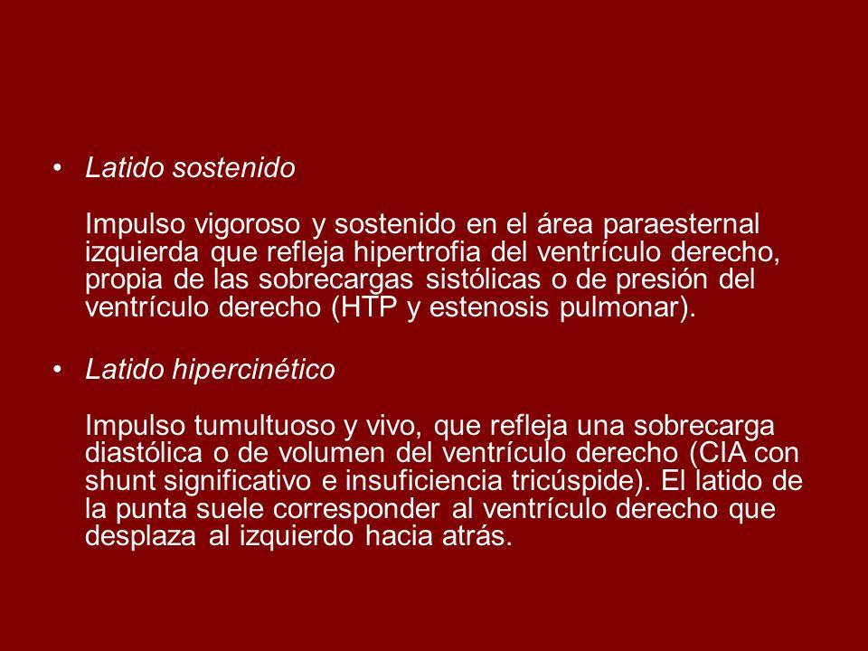 Latido sostenido Impulso vigoroso y sostenido en el área paraesternal izquierda que refleja hipertrofia del ventrículo derecho, propia de las sobrecar