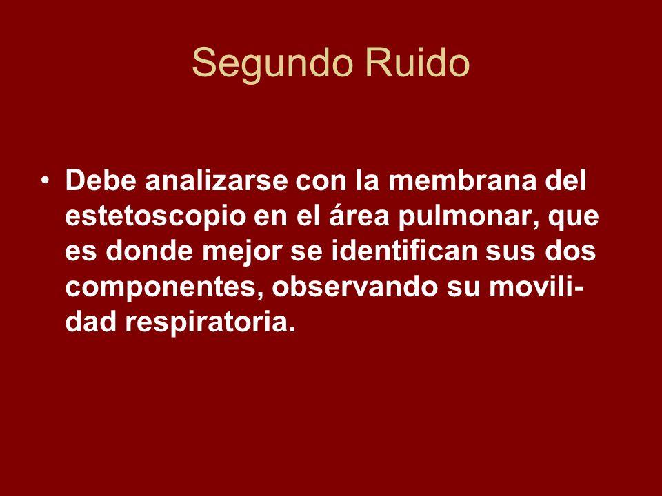 Segundo Ruido Debe analizarse con la membrana del estetoscopio en el área pulmonar, que es donde mejor se identifican sus dos componentes, observando