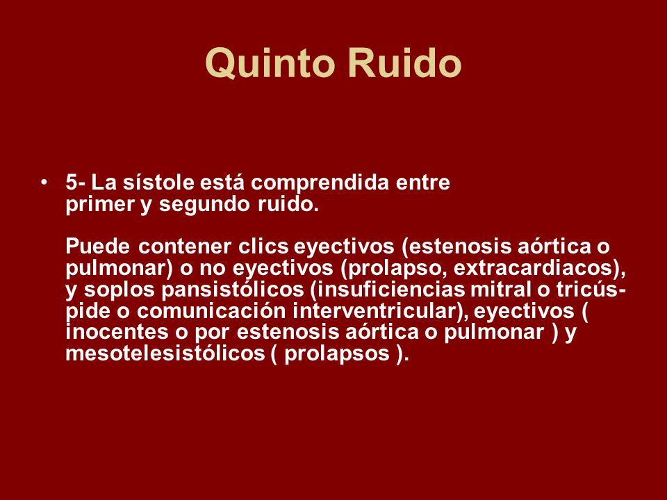 Quinto Ruido 5- La sístole está comprendida entre primer y segundo ruido. Puede contener clics eyectivos (estenosis aórtica o pulmonar) o no eyectivos