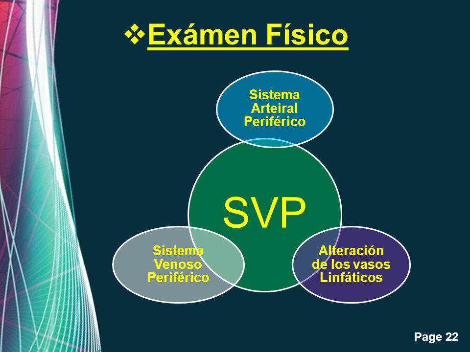 Free Powerpoint Templates Page 22 Exámen Físico SVP Sistema Arteiral Periférico Alteración de los vasos Linfáticos Sistema Venoso Periférico