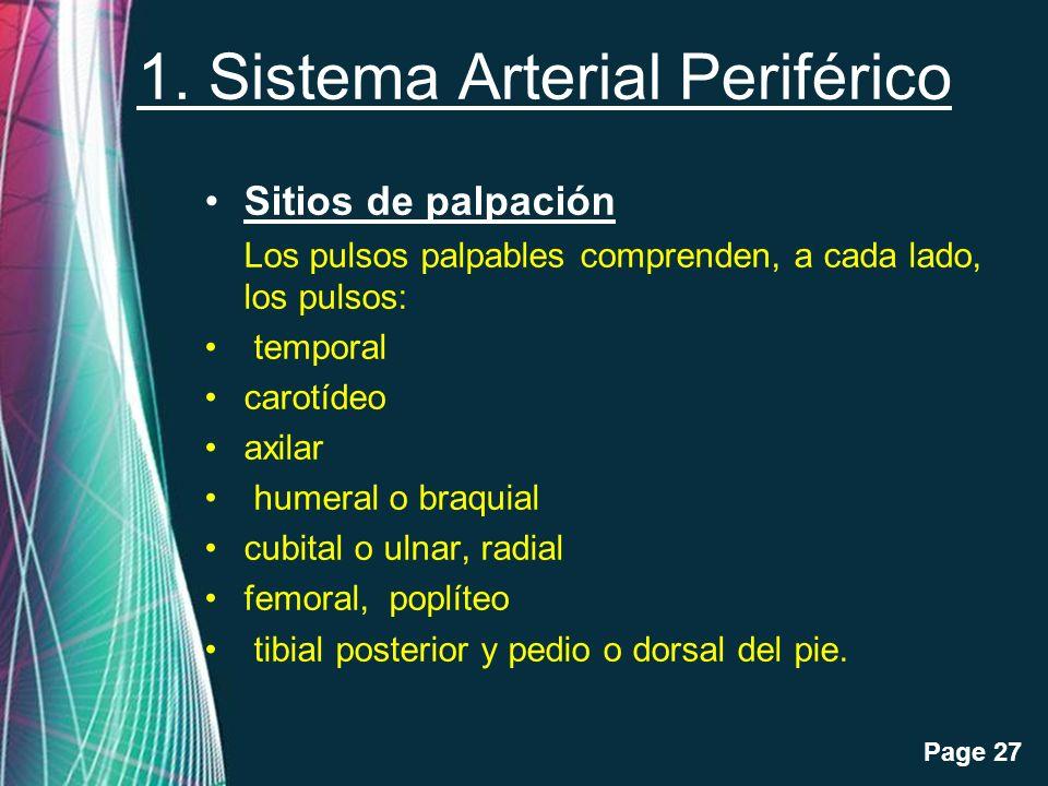 Free Powerpoint Templates Page 27 1. Sistema Arterial Periférico Sitios de palpación Los pulsos palpables comprenden, a cada lado, los pulsos: tempora