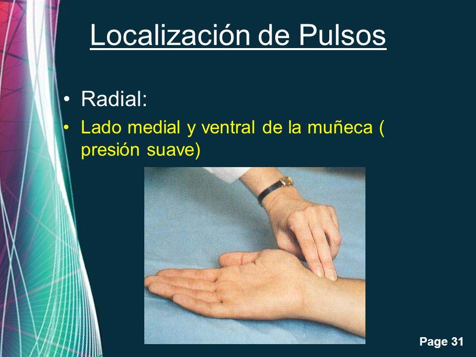 Free Powerpoint Templates Page 31 Localización de Pulsos Radial: Lado medial y ventral de la muñeca ( presión suave)
