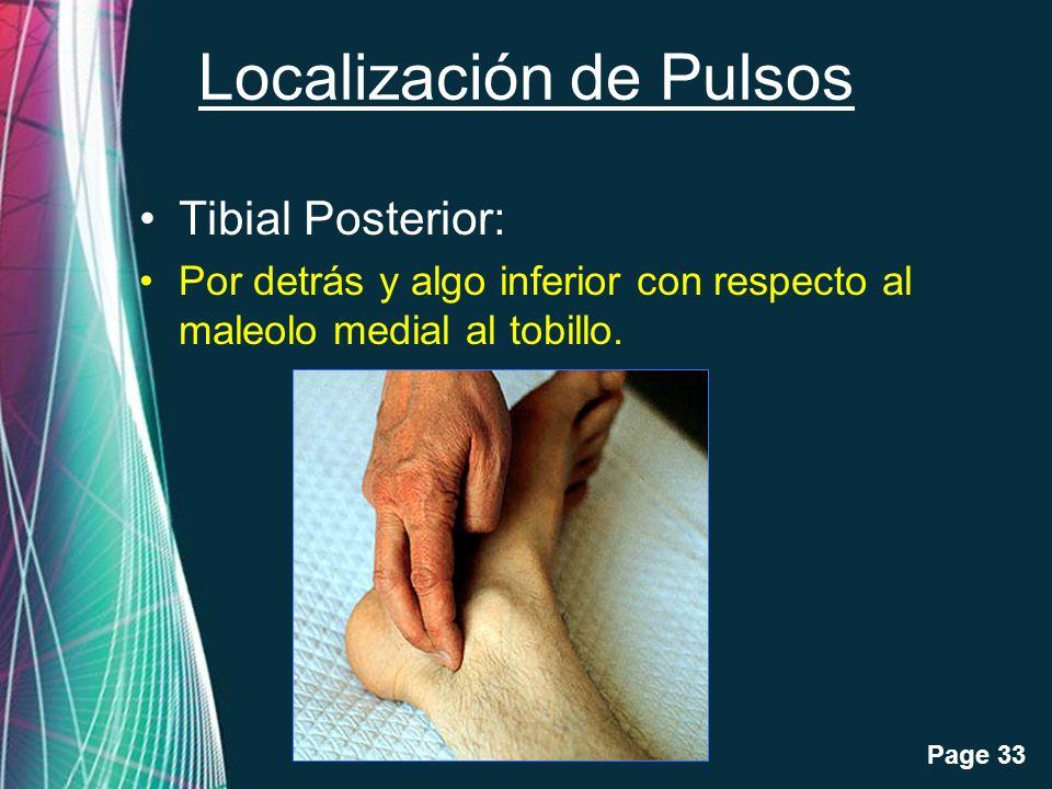 Free Powerpoint Templates Page 33 Localización de Pulsos Tibial Posterior: Por detrás y algo inferior con respecto al maleolo medial al tobillo.