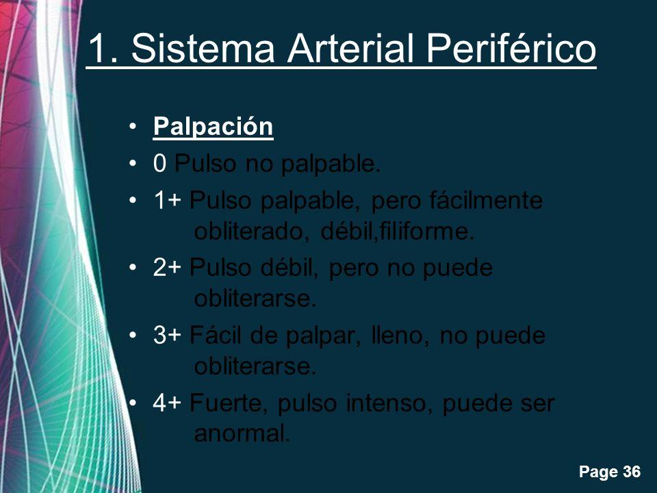 Free Powerpoint Templates Page 36 1. Sistema Arterial Periférico Palpación 0 Pulso no palpable. 1+ Pulso palpable, pero fácilmente obliterado, débil,f