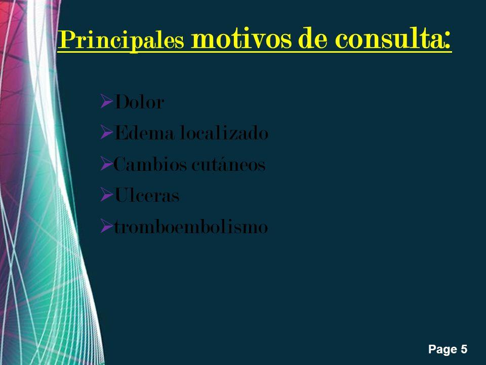 Free Powerpoint Templates Page 5 Principales motivos de consulta: Dolor Edema localizado Cambios cutáneos Ulceras tromboembolismo