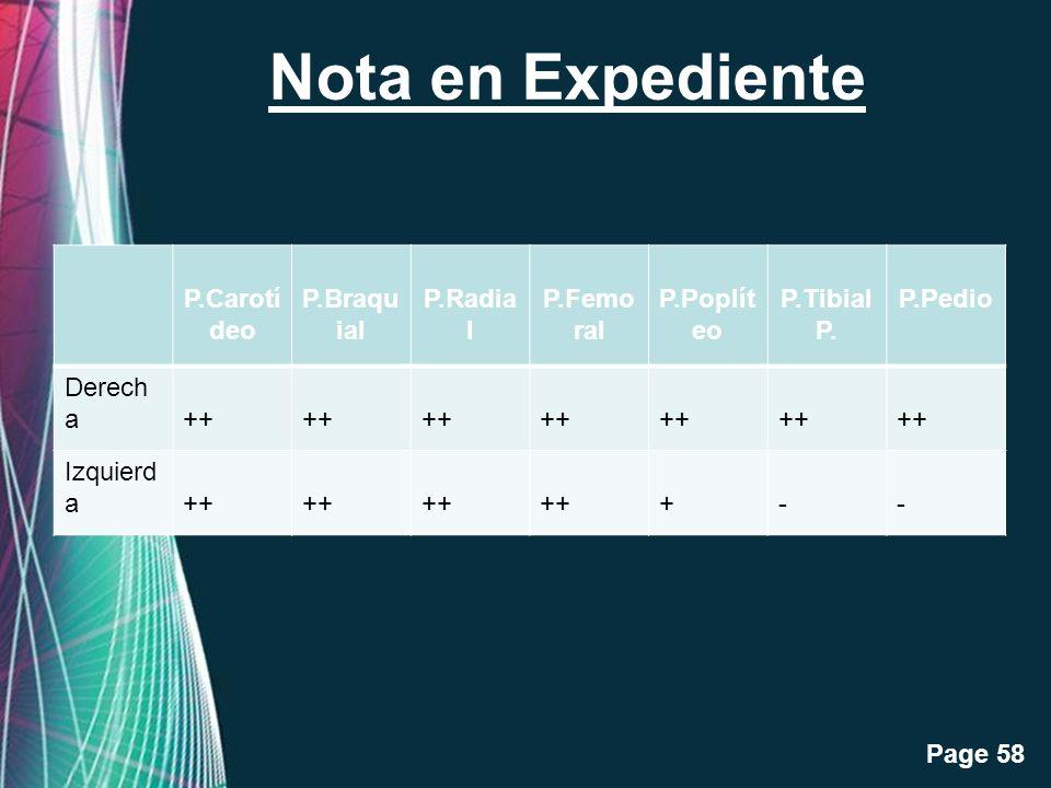 Free Powerpoint Templates Page 58 Nota en Expediente P.Carotí deo P.Braqu ial P.Radia l P.Femo ral P.Poplít eo P.Tibial P. P.Pedio Derech a++ Izquierd