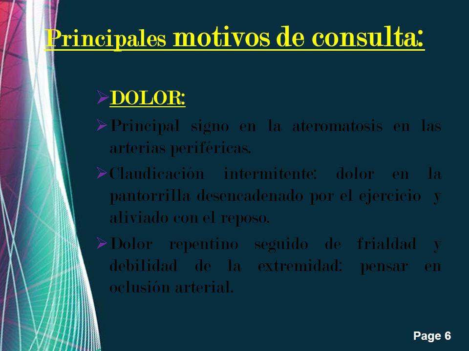 Free Powerpoint Templates Page 6 Principales motivos de consulta: DOLOR: Principal signo en la ateromatosis en las arterias periféricas. Claudicación