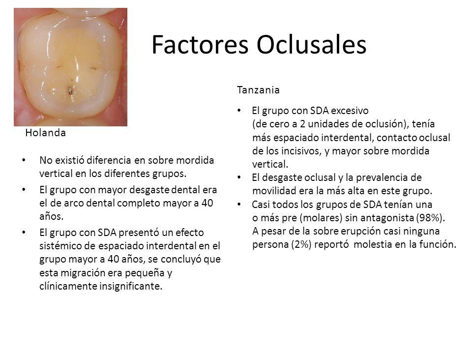 Factores Oclusales No existió diferencia en sobre mordida vertical en los diferentes grupos. El grupo con mayor desgaste dental era el de arco dental