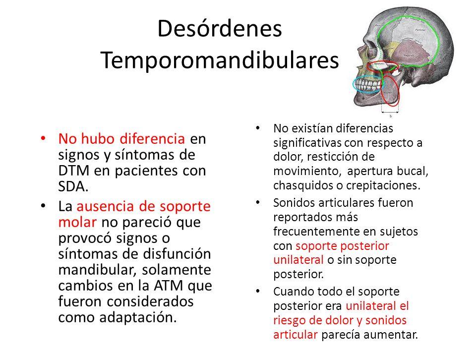 Desórdenes Temporomandibulares No existían diferencias significativas con respecto a dolor, resticción de movimiento, apertura bucal, chasquidos o cre