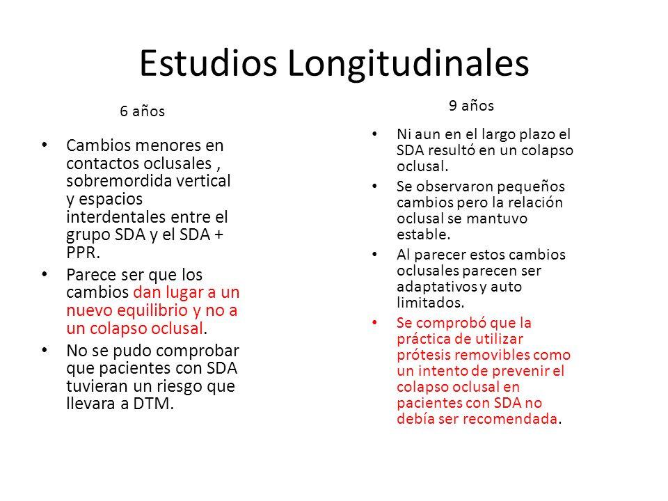 Estudios Longitudinales Cambios menores en contactos oclusales, sobremordida vertical y espacios interdentales entre el grupo SDA y el SDA + PPR. Pare