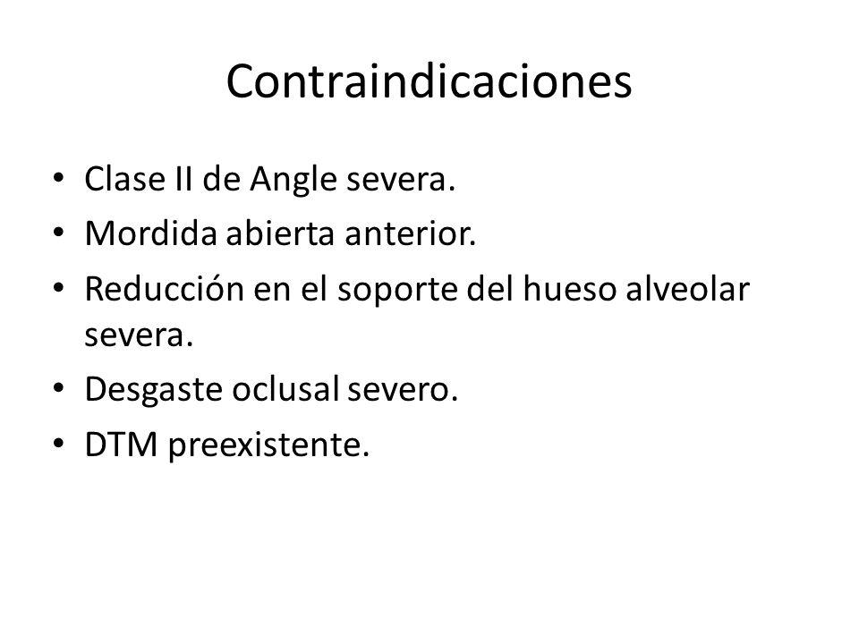 Contraindicaciones Clase II de Angle severa. Mordida abierta anterior. Reducción en el soporte del hueso alveolar severa. Desgaste oclusal severo. DTM