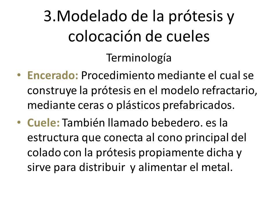 3.Modelado de la prótesis y colocación de cueles Terminología Encerado: Procedimiento mediante el cual se construye la prótesis en el modelo refractar