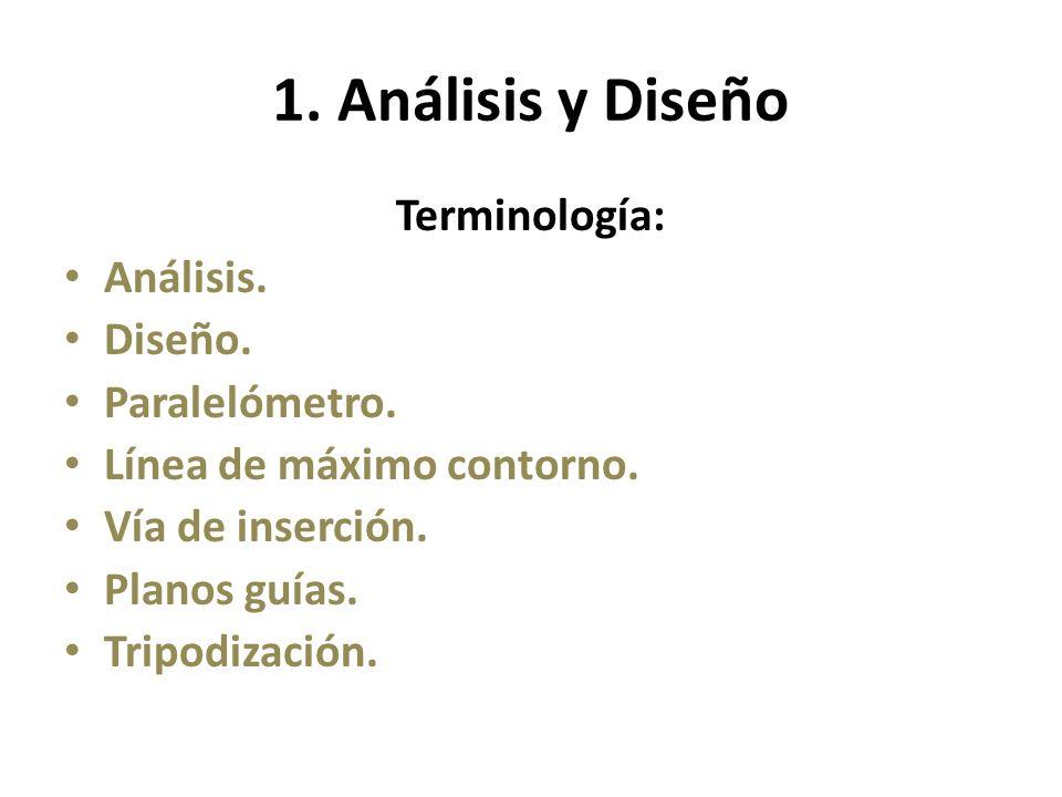 1. Análisis y Diseño Terminología: Análisis. Diseño. Paralelómetro. Línea de máximo contorno. Vía de inserción. Planos guías. Tripodización.