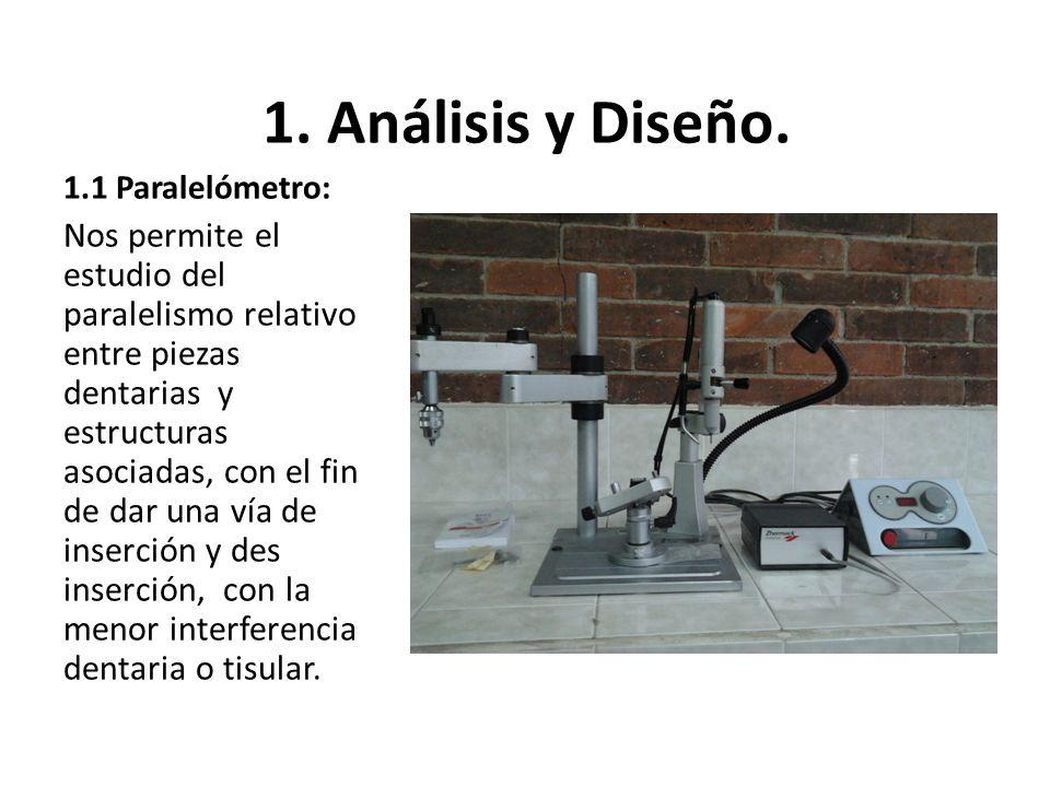 1. Análisis y Diseño. 1.1 Paralelómetro: Nos permite el estudio del paralelismo relativo entre piezas dentarias y estructuras asociadas, con el fin de