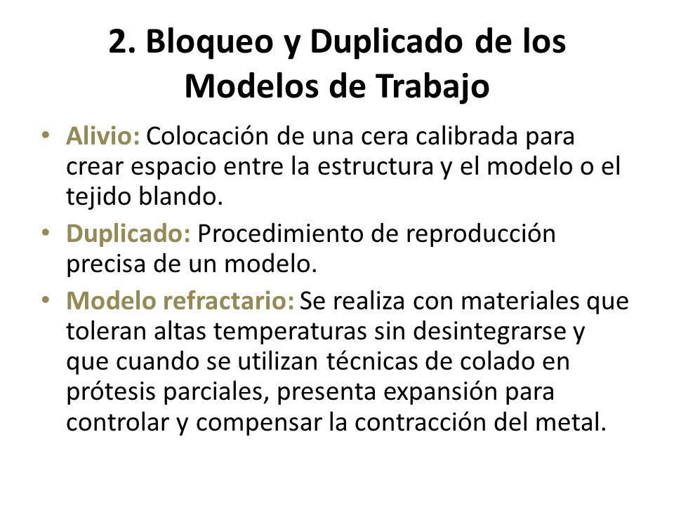 2. Bloqueo y Duplicado de los Modelos de Trabajo Alivio: Colocación de una cera calibrada para crear espacio entre la estructura y el modelo o el teji