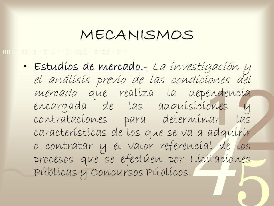 MECANISMOS Estudios de mercado.-Estudios de mercado.- La investigación y el análisis previo de las condiciones del mercado que realiza la dependencia