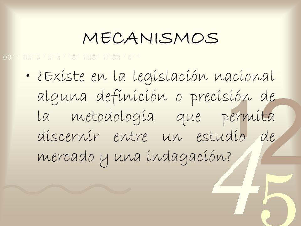 MECANISMOS ¿Existe en la legislación nacional alguna definición o precisión de la metodología que permita discernir entre un estudio de mercado y una