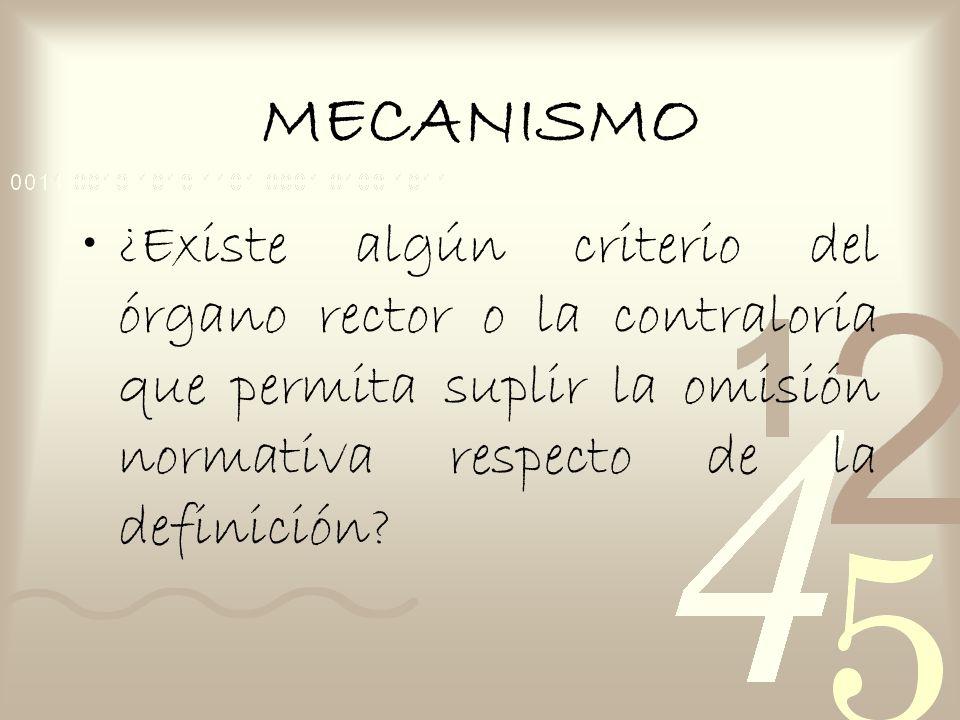 MECANISMO ¿Existe algún criterio del órgano rector o la contraloría que permita suplir la omisión normativa respecto de la definición?