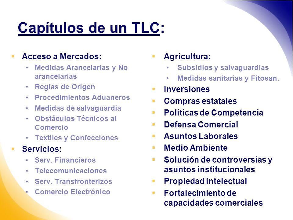Capítulos de un TLC: Acceso a Mercados: Medidas Arancelarias y No arancelarias Reglas de Origen Procedimientos Aduaneros Medidas de salvaguardia Obstáculos Técnicos al Comercio Textiles y Confecciones Servicios: Serv.