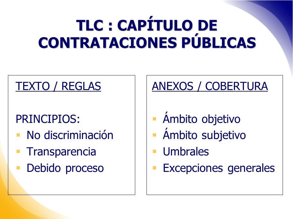 TLC : CAPÍTULO DE CONTRATACIONES PÚBLICAS TEXTO / REGLAS PRINCIPIOS: No discriminación Transparencia Debido proceso ANEXOS / COBERTURA Ámbito objetivo Ámbito subjetivo Umbrales Excepciones generales