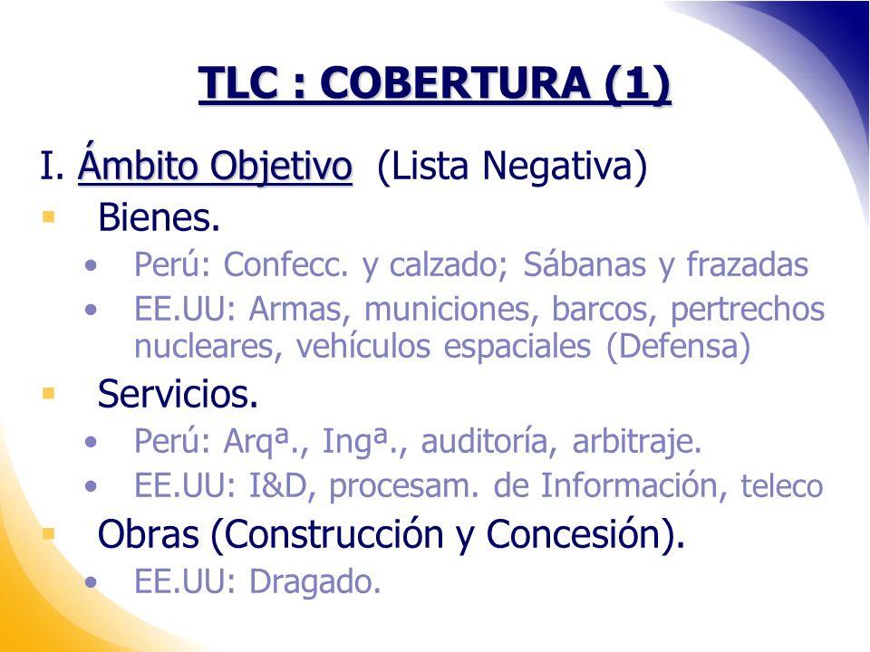 TLC : COBERTURA (1) Ámbito Objetivo I.Ámbito Objetivo (Lista Negativa) Bienes.