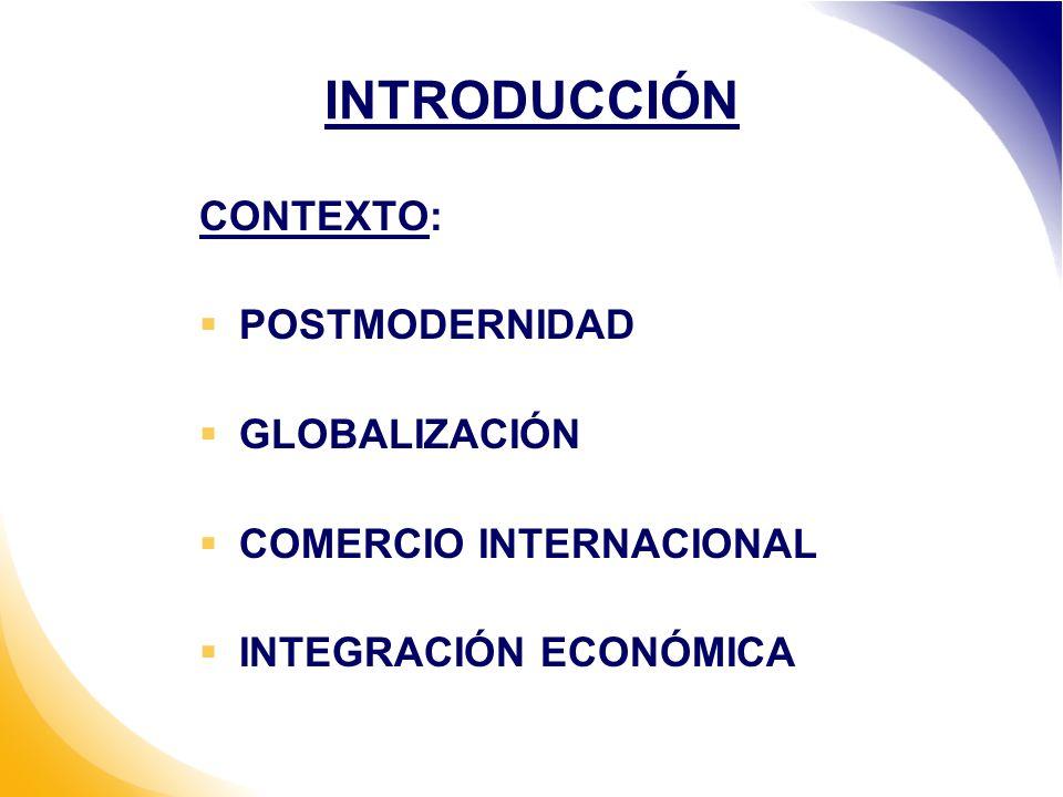INTRODUCCIÓN CONTEXTO: POSTMODERNIDAD GLOBALIZACIÓN COMERCIO INTERNACIONAL INTEGRACIÓN ECONÓMICA