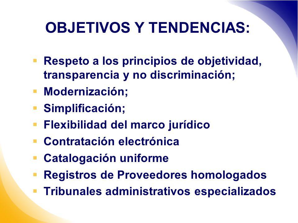 OBJETIVOS Y TENDENCIAS: Respeto a los principios de objetividad, transparencia y no discriminación; Modernización; Simplificación; Flexibilidad del marco jurídico Contratación electrónica Catalogación uniforme Registros de Proveedores homologados Tribunales administrativos especializados