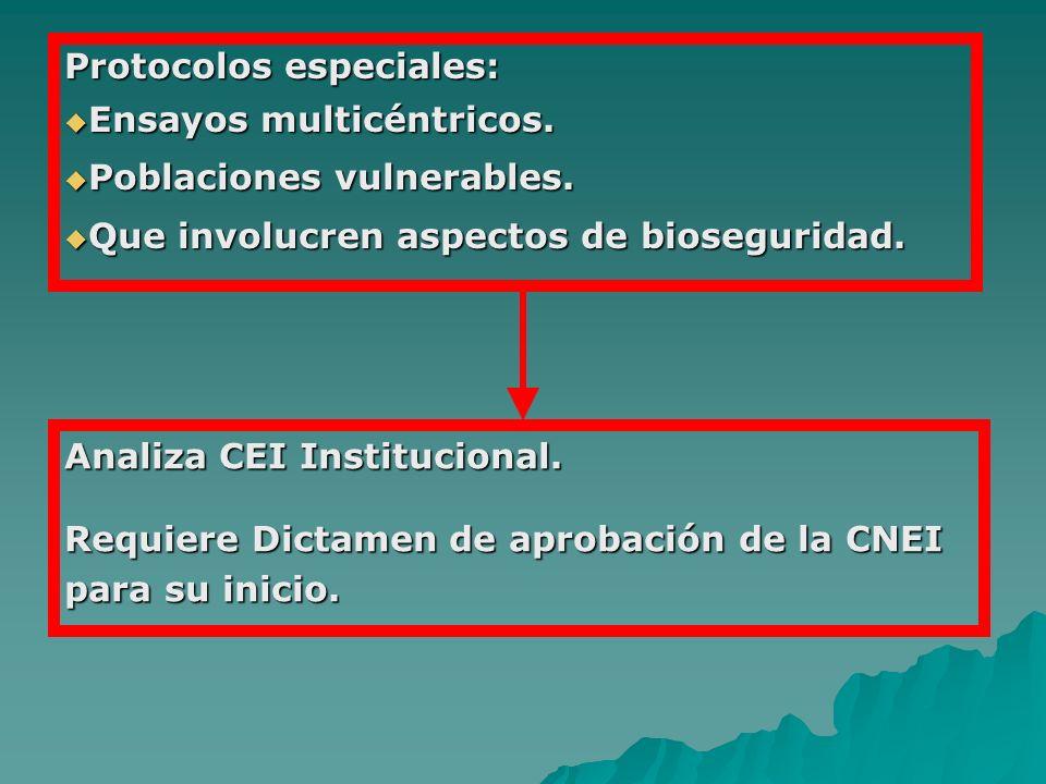 Protocolos especiales: Ensayos multicéntricos. Ensayos multicéntricos. Poblaciones vulnerables. Poblaciones vulnerables. Que involucren aspectos de bi