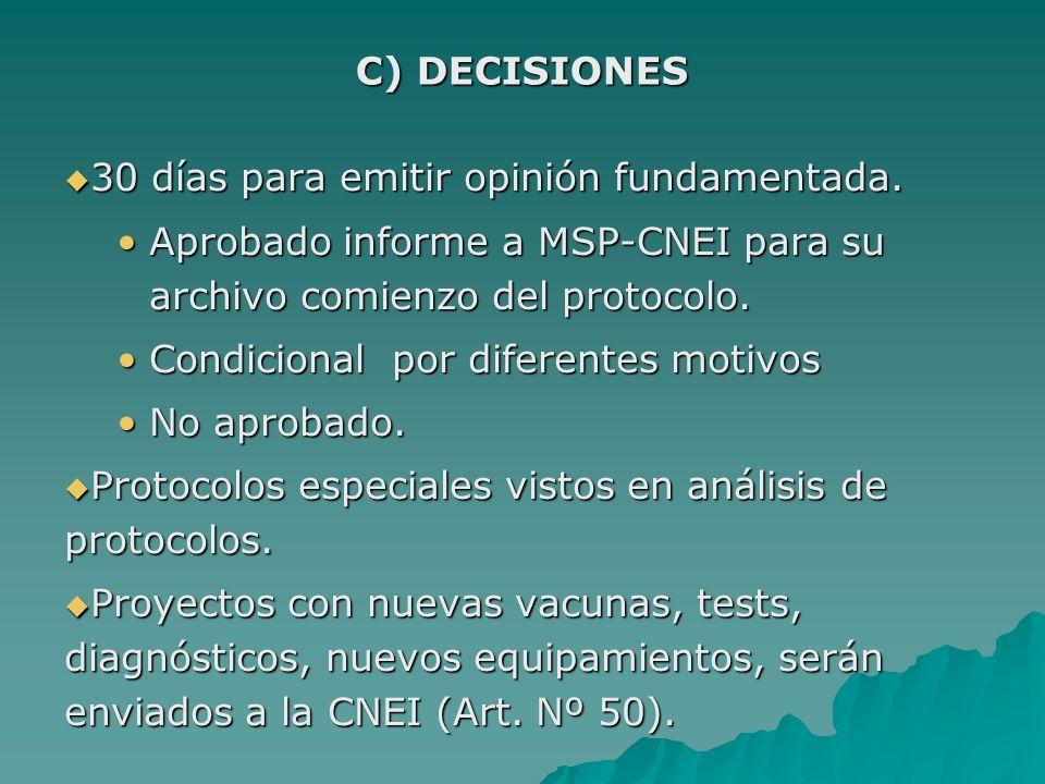 30 días para emitir opinión fundamentada. 30 días para emitir opinión fundamentada. Aprobado informe a MSP-CNEI para su archivo comienzo del protocolo