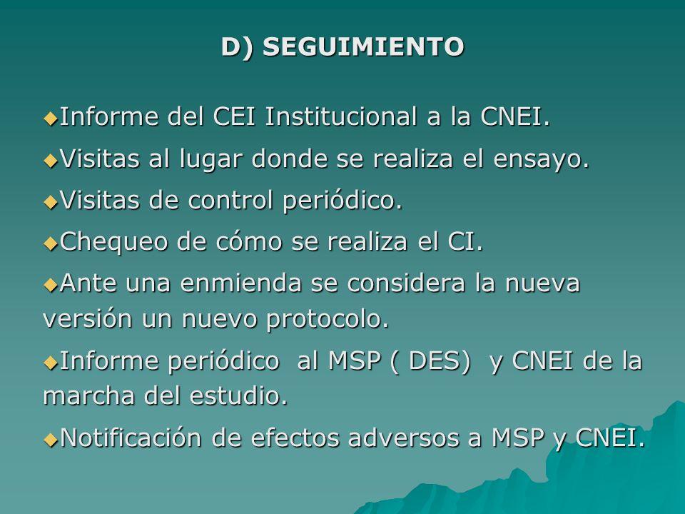 Informe del CEI Institucional a la CNEI. Informe del CEI Institucional a la CNEI. Visitas al lugar donde se realiza el ensayo. Visitas al lugar donde